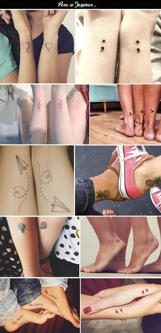Quem nunca considerou a hipótese de fazer uma tatuagem com a melhor amiga ou até mesmo com a mãe, irmã ou prima? Sempre vejo lá no Pinterest e fico apaixonada pelas ideias, principalmente as tattos mais delicadinhas. Hoje trouxe a vocês algumas inspirações... Claro que tatuagem tem muito a ver co