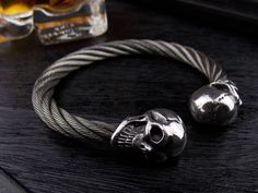 GABORATORY Skull Stainless Wire Bangle