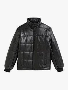 doudoune noire en cuir d'agneau matelassé | agnès b. Winter Jackets, Leather Jacket, Collection, Art, Fashion, Lambskin Leather, Winter Coats, Studded Leather Jacket, Art Background