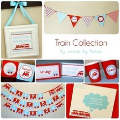Train Party Collection-Printable PDF File with EDITABLE TEXT.