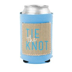 Send out a unique wedding save the date with this neoprene koozie with a burlap pocket.  Imprint on both sides of the koozie.  Choose your stitch and neoprene colors.  #wedding #savethedate #wedding koozies #wedding invitations