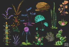 Plants sheets, Romwald Bogun on ArtStation at… Illustration, Fantasy Art, Game Design, Environment Design, Art, Plant Art, Alien Plants, Environmental Art, Prop Design