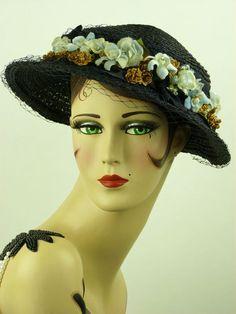 Vintage Hat 1950s LG XL Deep Blue Straw Ladies Hat w Veiling Flowers Ribbons   eBay