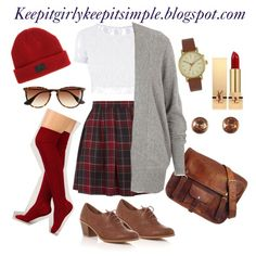 plaid skirt fall outfit messenger bag thigh high socks beanie red lips brown watch oxfords ootd outfit girly simple lace crop top