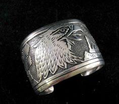 X Wide Tommy Singer Navajo Eagle Storyteller Sterling Silver Bracelet | eBay