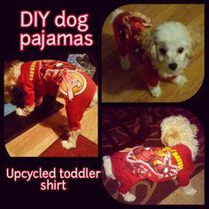 Diy dog pajamas made with an old toddler shirt and great pattern by @MimiandTara diy small dog clothes