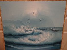 OIL+ON+CANVAS+OF+SEAGULLS+AND+OCEAN+SIGNED+TAYLOR+PAINTING+