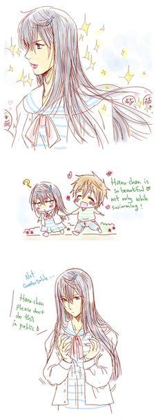 On a date ... Bonus part 3 ...  Drawn by racyue ... Free! - Iwatobi Swim Club, haruka nanase, haru nanase, haru, free!, iwatobi, makoto tachibana, makoto, tachibana, nanase