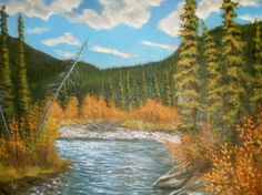 Magundy River Autumn, Orginal 4ft x 4ft acrylic , painting by artist Jackie Irvine