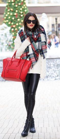 #winter #fashion / plaid + leather