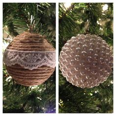 DIY Christmas ornaments #lace #pearls