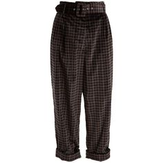 Isa Arfen Tartan-checked wide-leg cotton-velvet trousers ($639) ❤ liked on Polyvore featuring pants, bottoms, trousers, grey multi, wide leg pants, high-waist trousers, plaid pants, pleated pants and high-waisted pants