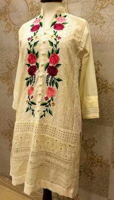 Elegant.... Kurti Embroidery Design, Embroidery Suits, Embroidery Fashion, Pakistani Dress Design, Pakistani Outfits, Indian Fashion, Boho Fashion, Kurta Designs Women, Sleeve Designs