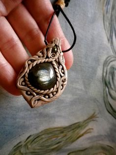 Labradorite polymer clay pendant with peridot door nouveaushades, $60.00
