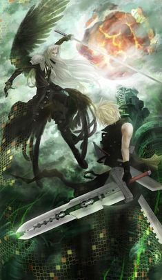 Sephiroth and Cloud (Final Fantasy Advent Children) Final Fantasy Cloud, Final Fantasy Artwork, Final Fantasy Vii Remake, Fantasy Series, Fantasy World, Final Fantasy Collection, Cloud Strife, Fantasy Characters, Les Oeuvres