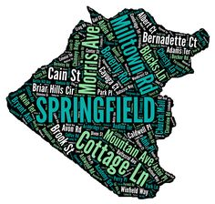 Custom Personalized Word Cloud Map of Springfield, New Jersey. The map includes all the street names in the town. Designed by Polka Dot Heart Art. Word Cloud Art, Street Names, Heart Art, Art Designs, Note Cards, Polka Dots, Map, Words, Prints