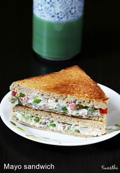 Veg mayonnaise sandwich recipe – A quick veg sandwich recipe that can be made in minutes with just few ingredients. This can be served for breakfast or lunch or snack. To make mayo sandwich, mostly wh (Sandwich Recipes) Monte Cristo Sandwich, Indian Snacks, Indian Food Recipes, Indian Sandwich Recipes, Vegetarian Sandwich Recipes, Vegan Sandwiches, White Bread Sandwich Recipes, Simple Veg Sandwich Recipes, Recipes With Bread