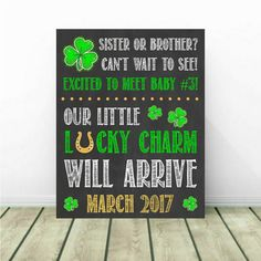 St. Patrick's Day Pregnancy Announcement, St Patrick Reveal, 3rd Pregnancy Reveal, 3rd Baby, 3rd Child, March Pregnancy Announcement by PrintsInspiredByMyah on Etsy