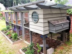 Expanded Garden Coop Chicken Coop with Run and Bee Hive #DIYchickencoopplans