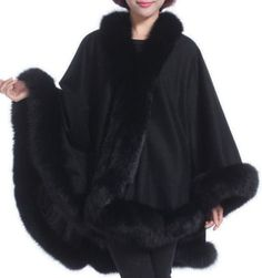 Pure Cashmere Cape Shawl Wrap with Fox fur Trim