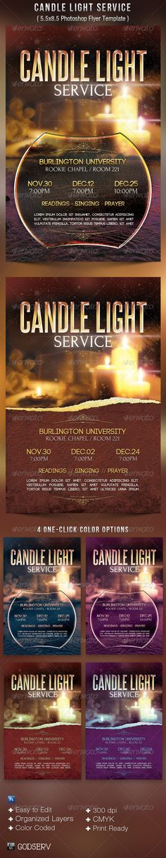 Candle Light Service Flyer Templates by Michael Taylor, via Behance - $6.00