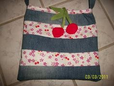 upcycled denim and scrap fabric cross shoulder bag. click picture to see more pics and how i made it :)