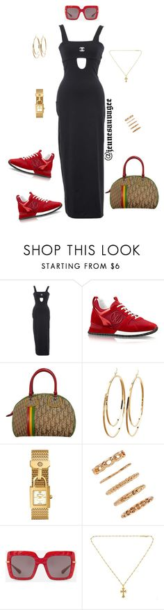 """Sporty Chanel"" by jeunesauvage ❤ liked on Polyvore featuring Chanel, Christian Dior, Charlotte Russe, Tory Burch, Forever 21, Dolce&Gabbana, Chrome Hearts and vintage"