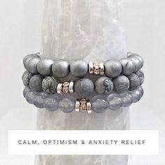 Healing Gemstone Bracelet Stack, Beaded Bracelets Set of 3, Stacking Bracelet Set for Calm, Optimism & Anxiety Relief
