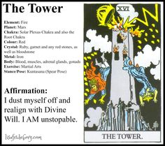 The origins of the Tarot are surrounded with myth and lore. It is hard to know for sure what the facts are. The Tarot has been thought to come from places like India, Egypt, China and Morocco. Others say the Tarot was brought to us fr Major Arcana Cards, Tarot Major Arcana, Wicca, The Tower Tarot Card, The Tower Tarot Meaning, Tarot Cards For Beginners, Tarot Card Spreads, Tarot Astrology, Chakra Colors