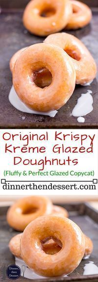 The Original Krispy Kreme Glazed Yeast Doughnut you know and love and now you can make them at home and eat them fresh! These doughnuts are best right after the glaze dries! is part of Glazed doughnuts - Köstliche Desserts, Delicious Desserts, Dessert Recipes, Yummy Food, Recipes Dinner, Cake Recipes, Homemade Donuts, Best Homemade Doughnut Recipe, Homemade Vanilla