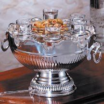 """Godinger CROWN BOWL/ RING 6VODKA GLASS by TheCozyPineapple. $66.06. Crystal and silver plated material. Measures approx: 6"""" high, Base 4.5"""". Handles 2"""" x 2"""". Large; 8.5"""" diameter, Small; 1.5"""" diameter.. CROWN SILVER BOWL WITH 6 CRYSTAL VODKA GLASSES"""