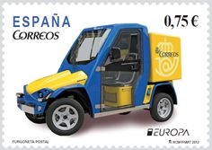 """""""The postman van"""" celebrating PostEuropa's anniversary - Postage stamp printed in Spain , circa 2013 General Post Office, Popular Hobbies, Stamp Printing, Love Stamps, Balearic Islands, Stamp Collecting, Postage Stamps, Transportation, Automobile"""