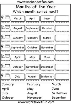 Months of the year - Which month comes next?