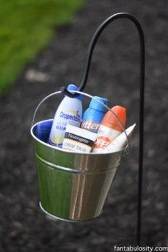 Such a good idea! Keep bug spray and sunscreen handy at outdoor gatherings! http://fantabulosity.com
