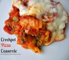 Crockpot Pizza Casserole is my sons favorite dinner! You must try this easy dinner recipe.