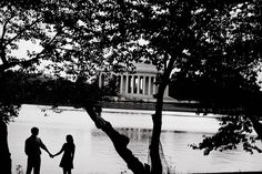 silhouette of couple by jefferson memorial