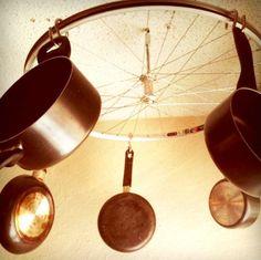 creative pot racks - bike wheel