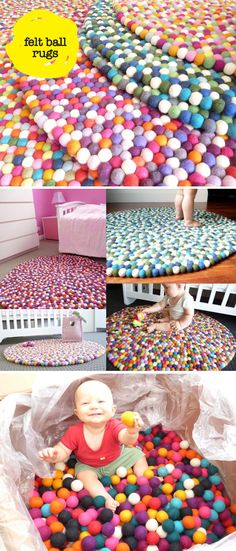 Felt Ball Floor Rugs.  It would take forever, but here are also diy tutorials: Make your own pom poms @ http://crochetncrafts.com/misc/howtomakepompoms.html & a tutorial @ http://crochetncrafts.com/misc/watermelonpompomrug.html