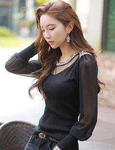 Styleonme_No. 33917 #seethrough #blouse #beaded