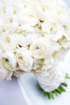All white Ranunculus wedding bouquet