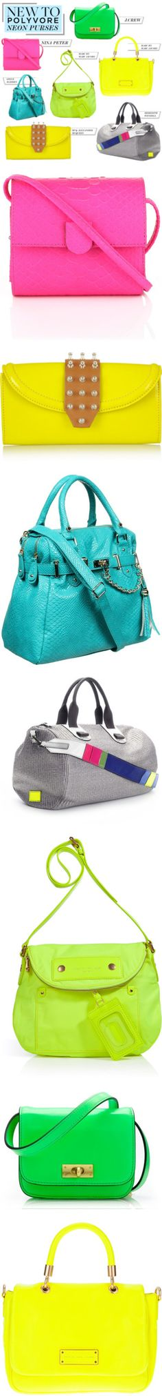 """New to Polyvore: Neon Purses for Spring"" by polyvore-editorial on Polyvore"