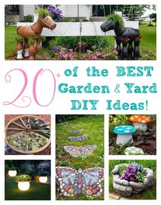Over 20 of the BEST Garden Ideas & DIY Yard Projects - everything from yard art, planters, garden stones, green houses, & more!