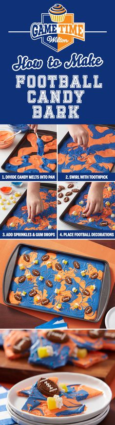 How to Make Football Candy Bark - Learn how to make this Team Colors Football Candy Bark. Choose from the vast assortment of Wilton's Candy Melts candy to customize and fit your team colors! Make it for a youth football treat, or impress the guests at your big game party.