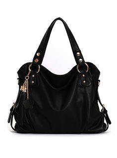 Elegant Tassel Black Handbag & Shoulder Bag