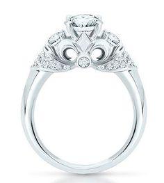 Fleur+De+Lis+Engagement+Ring | Fleur De Lis Embellished Precise White Gold Engagement Ring available ...