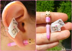 Teddy pen and paper fake plug/ear cuff by Bojo-Bijoux on deviantART