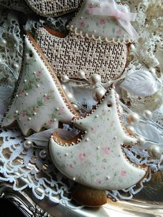 Dainty Christmas Rose Trees and Lacy Lady Elf Stocking by Teri Pringle Wood