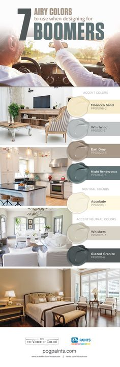7 Airy Colors to use when Designing for Boomers | Incorporate these paint colors to create a fresh and rejuvenating space tailored for the Baby Boomer Generation.
