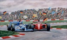 Original oil painting by Barrie Cann Formula 1, wheel to wheel #oil #painting #art #cars #F1 #Barrie #Cann #barriecann