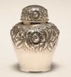 Gorham sterling silver tea caddy Vintage Silver, Antique Silver, Tea Tins, Teapots And Cups, Tea Art, Tea Caddy, Silver Spoons, Silver Roses, Sterling Silver